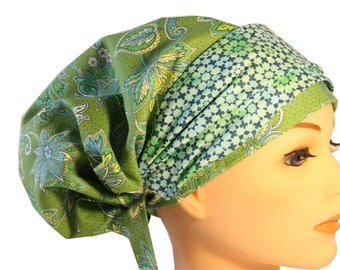 Scrub Hat Cap Chemo Bad Hair Day  European BOHO Banded Pixie Tie Back Lime Green Blue Floral Band  2nd Item Ships FREE