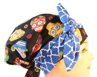 Scrub Hat Cap Chemo Bad Hair Day Hat  European BOHO Banded Pixie Tie Back Cantina Sugar Skulls Bright Blue Tie Band 2nd Item Ships FREE