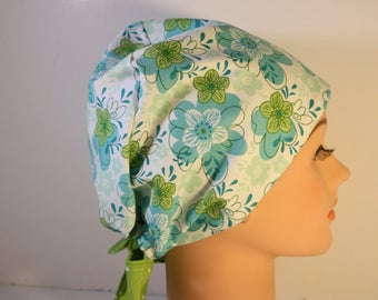 Scrub Hat Surgical Scrub Cap Chemo Vet Nurse Dr Hat European Pixie Style Teal Floral  2nd Item Ships FREE