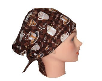 Scrub Hat Surgical Scrub Cap Chemo Vet Nurse Chef Dr Hat European Pixie Coffee Cappucino Brown 2nd Item Ships FREE