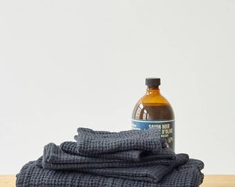Dark Grey Linen Waffle Towel