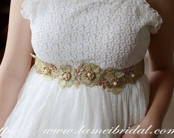 Golden Lace Flower Wedding Bridal Belt with Champagne Sash ribbon, Gold wedding dress belt, Lace bridal belt,Gold flower and leaf belt
