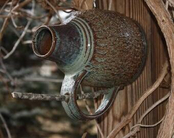 Ceramic bottle birdhouse, Stoneware jug birdhouse