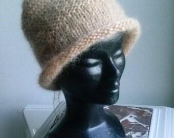 80% mohair wool and 20% caramel Merino Hat
