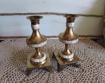 Pair Brass Candle Holders Mother of Pearl Footed Inlaid Pearl.