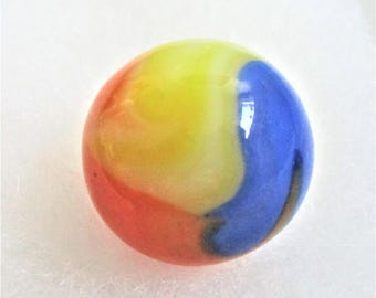 "Tri Color Shooter Marble Glass Agate Marble 7/8"" Orange Yellow Blue Children's Game Vintage Toy Classic Mid Century Art Glass Vitro Agate"