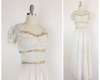 40s White & Gold Studded Gown / 1940s Vintage Sheer Wedding Dress / Medium / Size 6