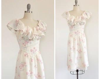 70s Floral Print Cotton Day Dress / 1970s Vintage Gunne Sax Prairie Dress / Large / Size 12