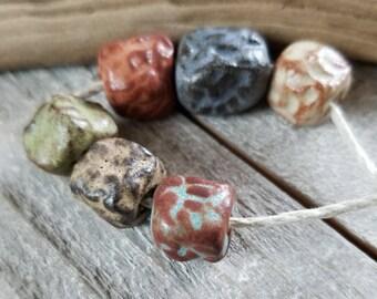 Rustic textured ceramic beads - textured beads - rustic beads - ceramic beads [817]