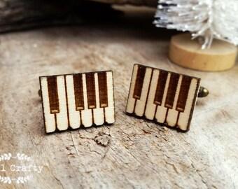 Piano Key Wooden Cufflinks Organ Piano Music Keyboard Dad Grooms Best man Groomsman Rustic Wedding Birthday Gift Cuff links