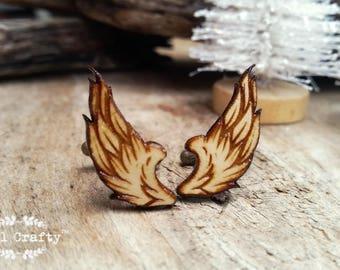 Wings Wooden Cufflinks feather animal Boy friend Dad Grooms Best man Groomsman Rustic Wedding Birthday Gift Cuff links