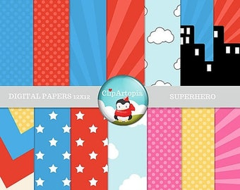 50% OFF SALE Superhero Digital Papers Pack Great for Scrapbooking, Making Cards, Tags and Invitations / INSTANT Download