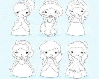 50% OFF SALE Princess 3 Digital Stamp  / Cute Princess Line Art / Fairytale Princess black and white For Personal and Commercial Use / INSTA