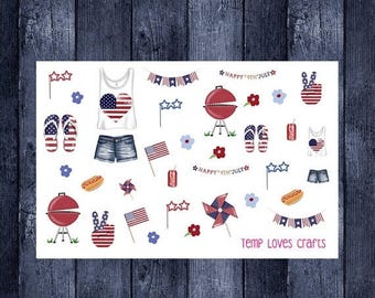 4th of july stickers for erin condren life planner, filofax, daytimer, plum planner, kikki k or any planner