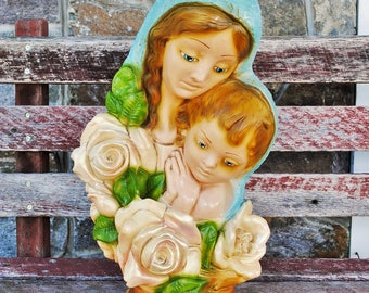 Vintage Lighted Virgin Mary With Child Chalkware Statue