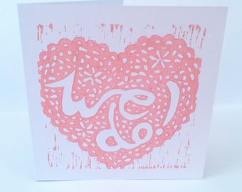 Wedding Acceptance card (linocut)