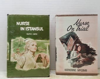 Set of Two Nurse books, Nurses on Trial and Nurse in Istanbul, 1970s, vintage fiction
