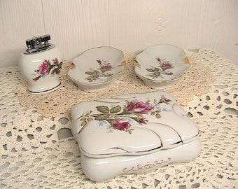 Lighter, Ashtrays and Trinket/Cigarette Dish Set, Japan Chase Porcelain, Matching Roses and Gold Set
