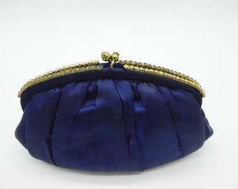 Gorgeous Vintage Navy Blue Satin Clutch 1950's L&M