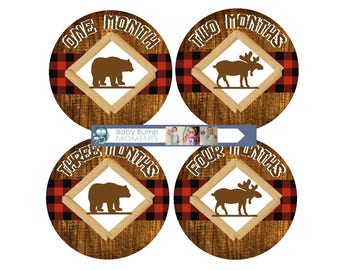 Baby Milestone Stickers, Baby Month Stickers, Months 1 - 12, Baby Belly Stickers, Bear Moose, Buffalo Plaid, Brown Red