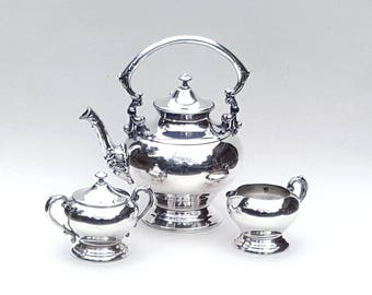 Vintage Tea Set Silver on Copper CROSBY Tea Coffee Pot Sugar with lid Creamer Silverplate 4 Piece