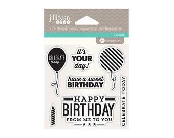 "Jillibean Soup BIRTHDAY clear silicone stamp set By Hampton Art 4"" x 4"" - balloon stamps JB1283 cc02"