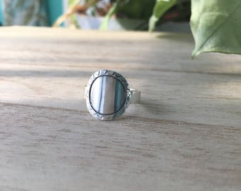 Silver Disc Ring with Silver Frame