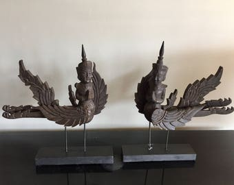 Pair of sculptures  hand carved wood