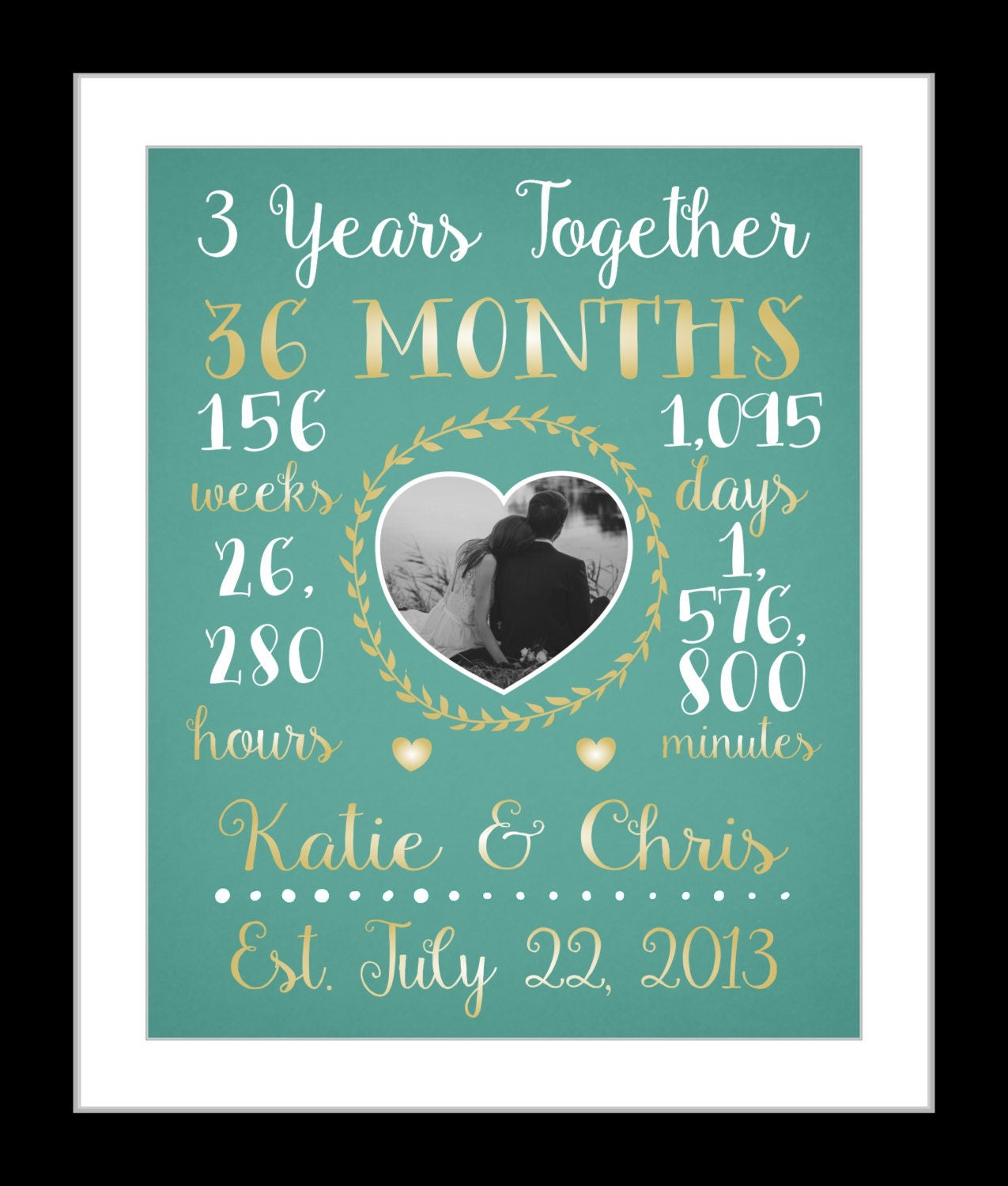 One Year Wedding Anniversary Gifts: Any Or 3 Year Anniversary Gift 3 Year Wedding Anniversary