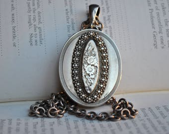 Antique Sterling Locket - 1860 Big Victorian Locket, Forget Me Nots, Mourning Locket, Aesthetic Movement, English Hallmarks