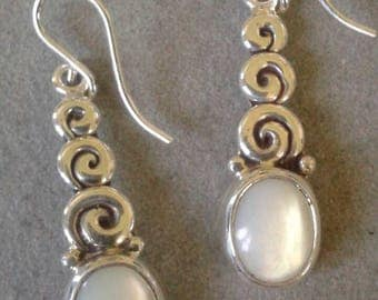 Sterling Silver Triple Spiral Oval Mother  of Pearl Dangle Earrings