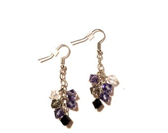 Swarovski Crystal Earrings. Silver plated chain and ear wires. Purple, Crystal and Black.