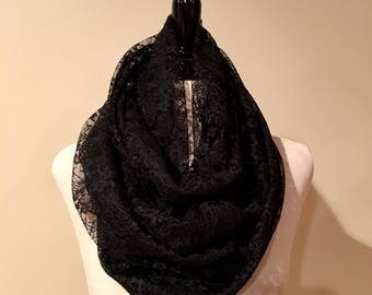 Infinity Scarf. Black Lace. Long.