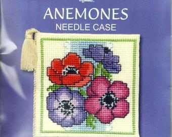 Anemones Counted Cross Stitch Needlecase Kit. Anemone Flowers. 14 count Aida, stranded cotton, needle, tassle and felt. Needlecase to Stitch