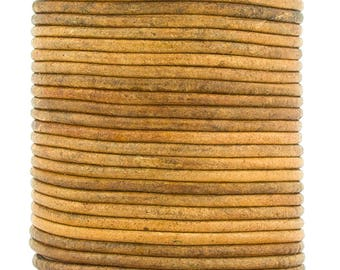 Xsotica® Mustard Distressed Natural Dye Round Leather Cord 2mm 50 meters (54 yards)