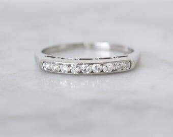 Simple Diamond Wedding Ring | Jabel 1940s Mid Century Wedding Band | 18k White Gold Diamond Ring | Classic 1940s Wedding Ring | Size 6