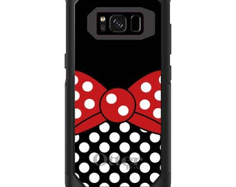 OtterBox Commuter for Galaxy S4 / S5 / S6 / S7 / S8 / S8+ / Note 4 5 8 - CUSTOM Monogram - Any Colors - Red White Polka Dot Bow Black White