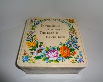 Vintage Carr's of Carlisle England Needlepoint Biscuit Tin Box Nursery Rhyme Monday's Child
