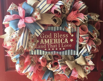 Patriotic Red, White, and Blue Wreath