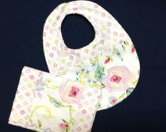 Cool Meadow Bib and Burp Set Ready to Ship