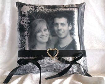 personalized with your photo satin ring bearer pillow