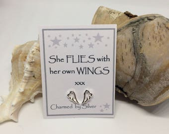 Sterling Silver Wing stud Earrings with Message