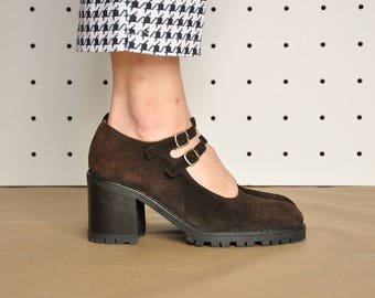 90s SUEDE mary janes GRUNGE mary janes CHUNKY mary janes platform mary janes club kid mary janes  / Size 8 us / 5.5 uk / 38.5 eu