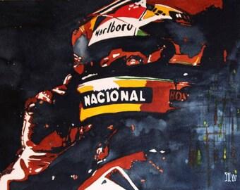 Ayrton Senna, pole position, watercolor