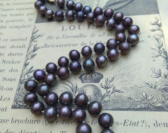 Vintage solid 14k yellow gold clasp black pearl necklace bronze blue luster grey pearl high quality cultured pearl solid gold engraved clasp