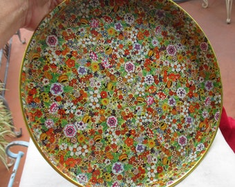 Vintage Colorful Flower Power Metal Tray