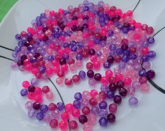 Lot Of Pink Purple Acrylic Beads