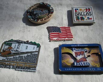 Lot Of Retro Assorted Souvenir & American Flag Refrigerator Magnets