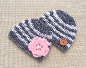 Baby twin boy girl hats, Newborn twin hats, Twin boy and girl hats set, Twin newborn photo prop, Twins baby gift