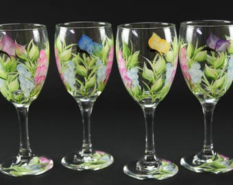 Set of  Four Hand Painted Wine Glasses / Colorful Wildflowers and Butterflies